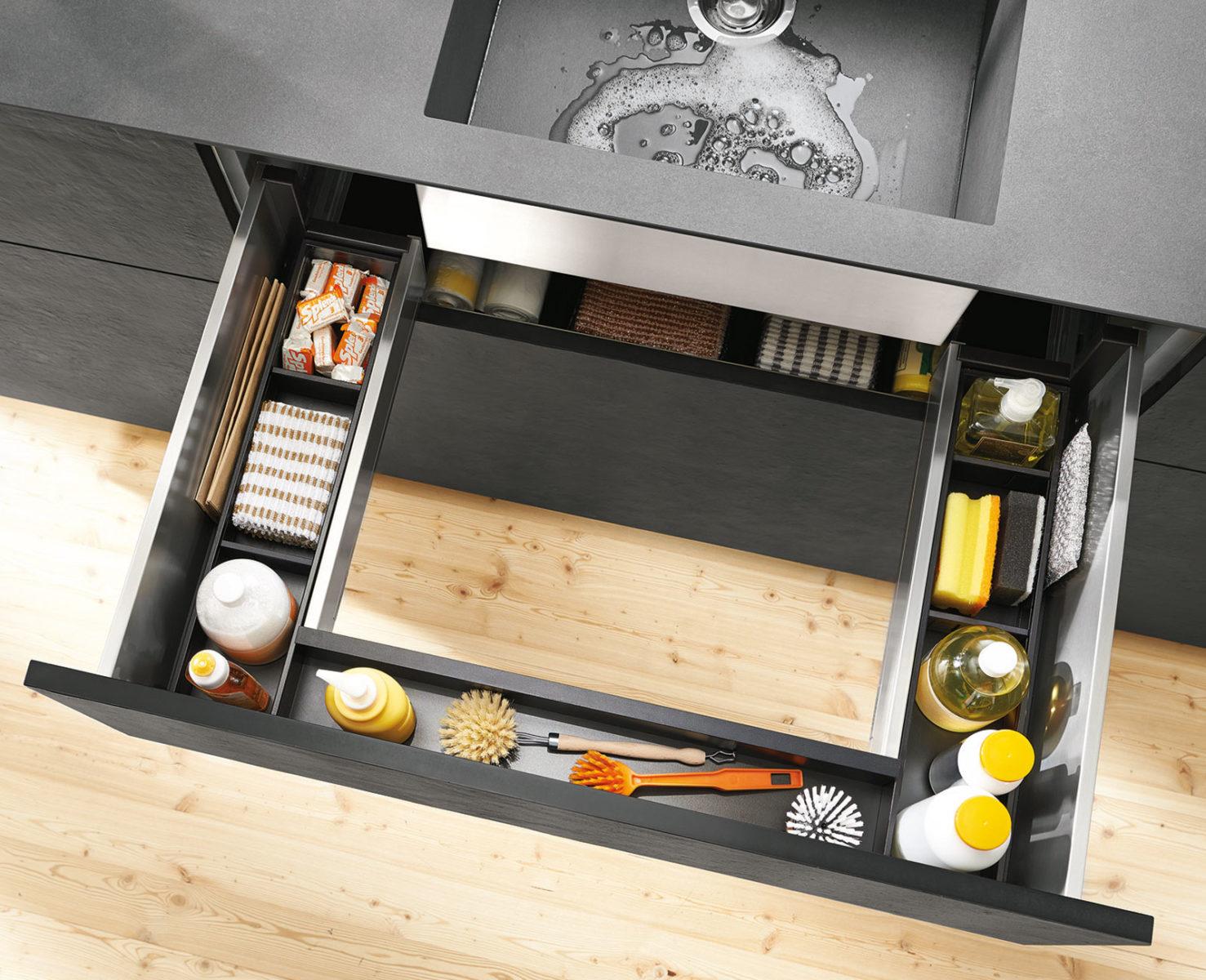 Ящик под мойку позволяет значительно повысить комфорт эксплуатации кухни